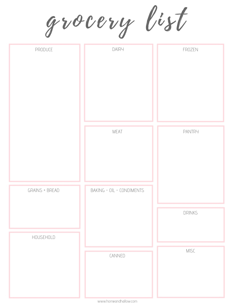photo relating to Free Printable Weekly Meal Planner titled Printable Evening meal Planner + Grocery Checklist - Residence and Hallow